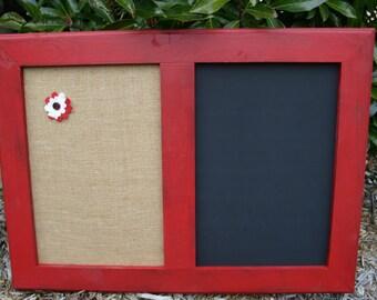 "30x22"" Red distressed Frame Chalk Board & Cork board"