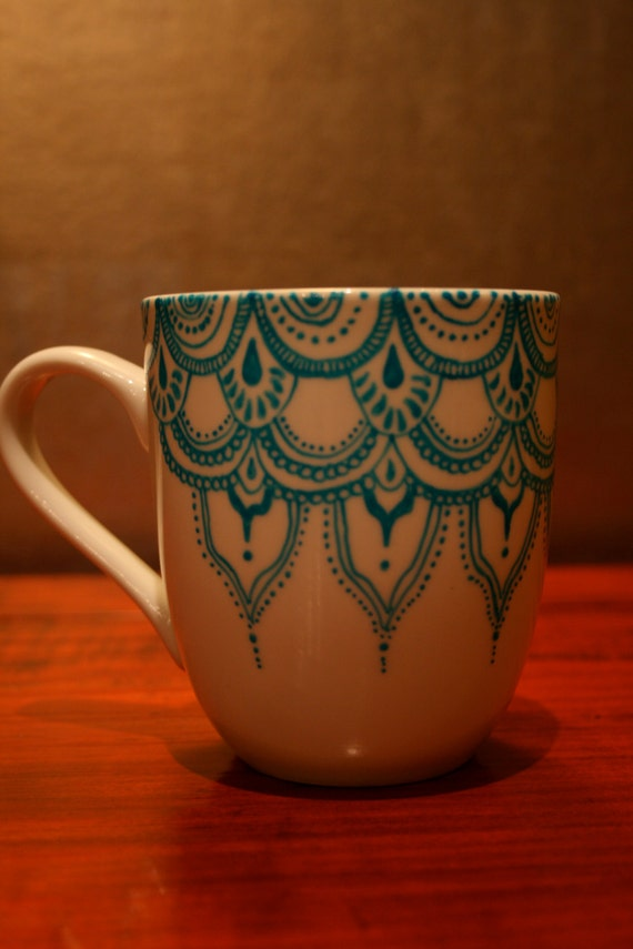 Items similar to hand painted porcelain mug with blue for How to paint a mug