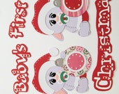 RESERVED FOR KAREN Baby's First Christmas paper piecing premade Scrapbook Border Photo Mats, bunny, ornament, santa