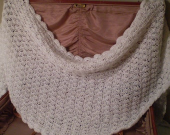 Handmade Crochet White Shell Pattern Triangle Shawl from Vintage Pattern