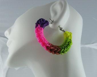 Multicolor Neon, Hoop, Crochet Earrings, Rainbow, Pink, Purple, Yellow, Green