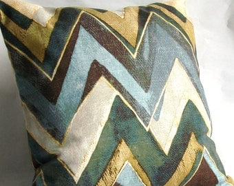 SALE Blue Brown Throw Pillow Cover with Zipper - Designer Modern Chevron - 18x18 inch Decorative Cushion Cover, Ready to Ship