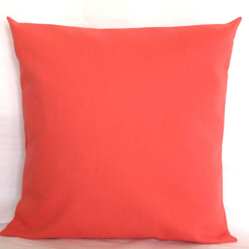 Solid Coral Throw Pillows : Decorative Pillow Cover Solid Coral 18x18 or 20x20 inch