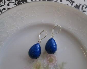 Vintage Royal Blue Speckled Tear Drop Dangle Earrings, Silver Setting, Silver Lever Backs, Hypoallergenic, Nickel-Free