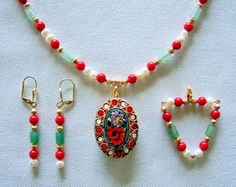 Red Flower Necklace Vintage Italian Mosaic Pendant Necklace Red Coral Green Agate Stone Necklace Freshwater Pearls Gift for Her Birthday