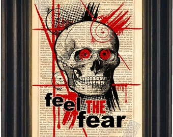 Trash Polka Style Skull Red Black  Feel The Fear print on vintage upcycled book page mixed media digital