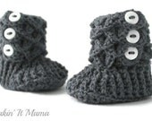 Crochet Slippers, Baby Booties, Grey Crochet Crocodile Baby Slipper Booties, Made to Order