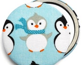 Compact mirror/ pocket mirror/ handbag mirror, Christmas Penguin fabric compact mirror, great for stocking fillers & party bag gifts