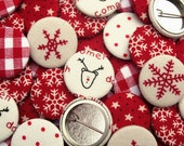 Pack of Fabric Badges/ Pin Badges/ Pin back buttons, Red & Cream Christmas badges, for stocking fillers, crackers, cards and party bags