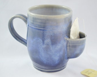 IN STOCK, Blue Pocket Mug, Sidekick Mug, Stoneware Mug with Pocket to store Tea Bag