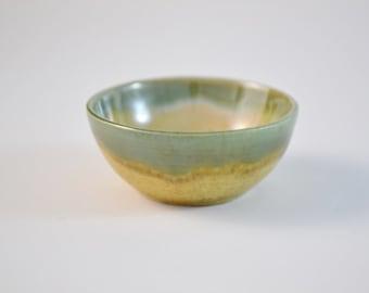 "Miniature Pot, Tiny Hand Thrown Bowl, Glazed Stoneware, Tan Green, 3/4"" tall, IN STOCK"