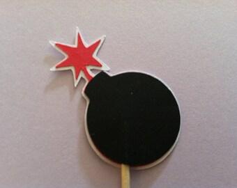 12 Bomb cupcake toppers-bomb appetizer picks