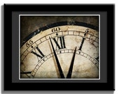 GRUNGE CLOCK Face showing Time past Midnight  in a Classic Vintage Antique Grunge look 2 - 8x10 Photographic Print