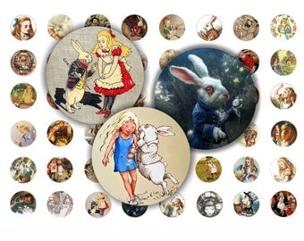 ALICE  in WONDERLAND - Digital Collage Sheet 18mm Circles Printable Images for Pendants Earings Rings