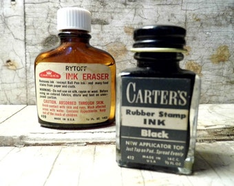 Liquid Ink and Ink Eraser Bottles, Desk Supplies, Vintage Office, Home and Office Supplies, Industrial