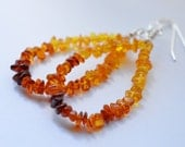 Baltic Amber Sterling Silver Hoops Earrings, Mixed Colors Genuine Amber Jewelry