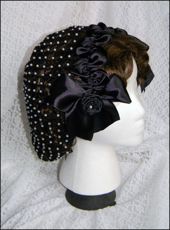 Victorian Inspired Womens Clothing 1800s Civil War Victorian Black Snood with Pearls and Roses Hair Net Handmade 100% cotton $59.00 AT vintagedancer.com