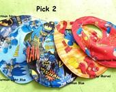 Bib set of superhero - Bib - Baby shower gift idea- Reversible bib set- Batman star wars superman captain marvel