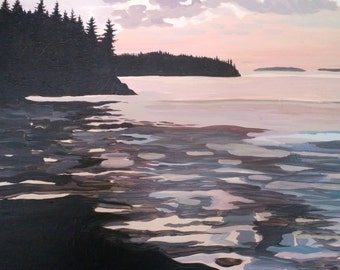 Christmas Cove Sunset In The fall - Very large, Acrylic On Canvas