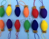 1 Dozen Handmade Felt Mini Holiday Lightbulb Ornaments