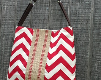 Handbag Tote with Chevron and Jute Webbing in Red