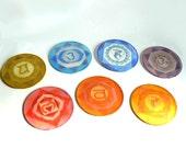 Silk Chakra Mandala Set - Healing home decoration - Chakra art SMALL SIZE