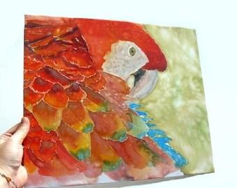 Parrot bird original silk painting Wall decoration Animal illustration