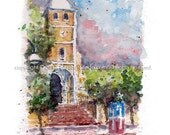 """5"""" x 7"""" Watercolor Sketch Print: """"El Grito de Lares"""" - by Luis E. Aparicio"""