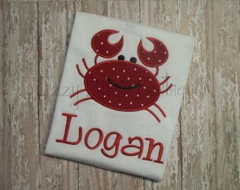 Crab applique shirt- summer applique outfit- toddler boys applique shirt