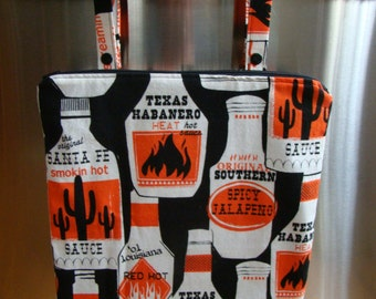 """Made to Order: Kitchen Wet Bag 12"""" X 15"""", zippered with oven bar handles, hot sauce print."""