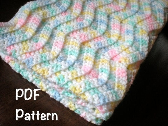 Free Crochet Pattern Baby Blanket Chevron : PATTERN: Chevron Baby Afghan shower gift carseat size