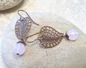 Pink Crystal & Brass Filigree Earrings