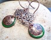 Emerald Green Enamel and Copper Filigree Earrings