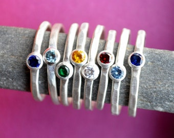 Stacking Birthstone Ring in Sterling Silver, Mothers Ring, Hammered birthstone rings