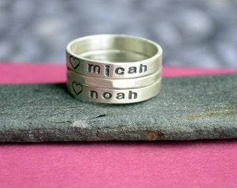 Personalized Stacking Name Ring Set with Hammered Wire Ring in Sterling Silver