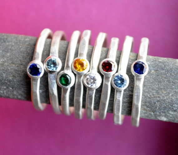 Stackable Birthstone Ring in Sterling Silver
