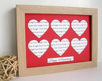 Wedding Anniversary Gift, Personalised Frame - Wedding Vows, First Dance Lyrics, 1 Year Paper Anniversary