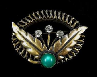 Art Deco Brooch Czech Glass Green Satin Finish Clear Rhinestone Accents Gilt Brass Treasure