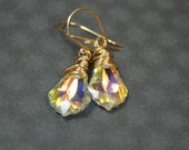Crystal passion Swarovski AB baroque wire wrapped gold earrings  Beadtrisslane READY to SHIP