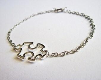 Puzzle bracelet, silver puzzle bracelet, puzzle piece bracelet, autism awareness, jigsaw puzzle bracelet, jig saw puzzle bracelet, tiny