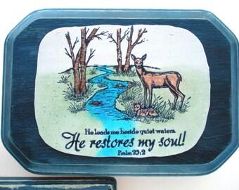 Scripture Wall Plaque SALE.  He leads me beside quiet waters.  He restores my soul. Psalm 23:2. Handmade Bible Verse Christian Scripture Art