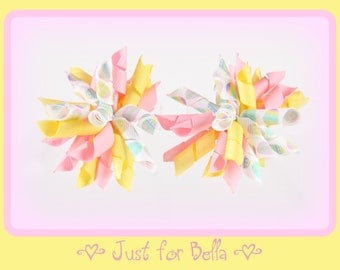 EASTER  Pastel Eggs --  Korker Dog Bows