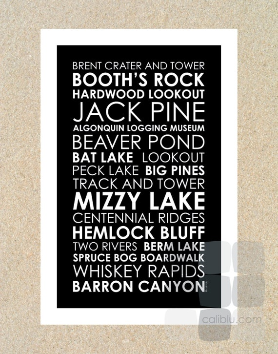 Algonquin Trail Names - Poster 12x18 - Modern Subway Style Typography Print