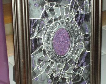 Antiqued Lavender Shattered Mosaic Glass Art