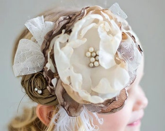 Camille Cream and Brown Vintage Inspired Lace Headband