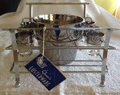Vintage Bar Ware by Queen's Lusterware - Original Tag - Ice Bucket with 6 Shot Glasses