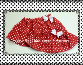 Sibling Twirl Skirt Set -  Red and White Polka Dot Twirl Skirts with Bow