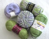 lime and lavender yarn pack - 5 balls 591 yards of cotton and blends yarns