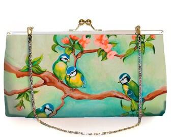 Clutch Large, party-ready, flowers, birds, nostalgic, bridal clutch, wedding clutch