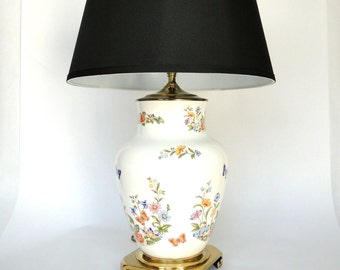 Vintage Wedgewood Lamp Porcelain Hand Painted Ansley Pattern Asian Butterfly Floral Brass Bowed Footed Base